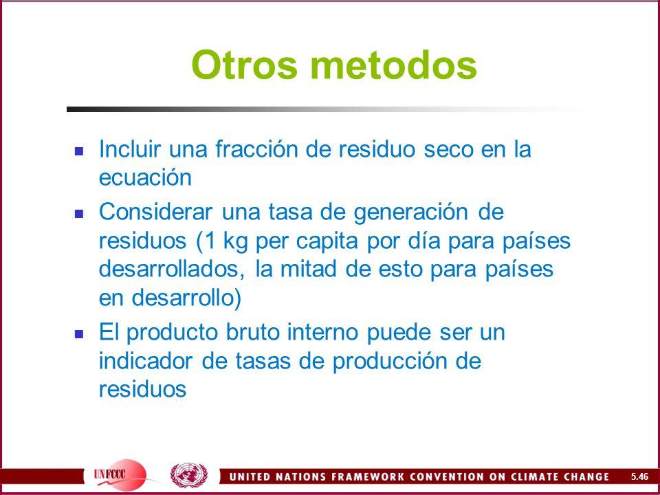 Otros metodos Incluir una fracción de residuo seco en la ecuación