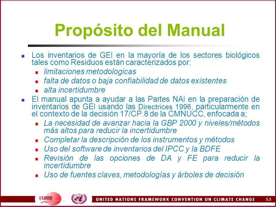 Propósito del Manual Los inventarios de GEI en la mayoría de los sectores biológicos tales como Residuos están caracterizados por: