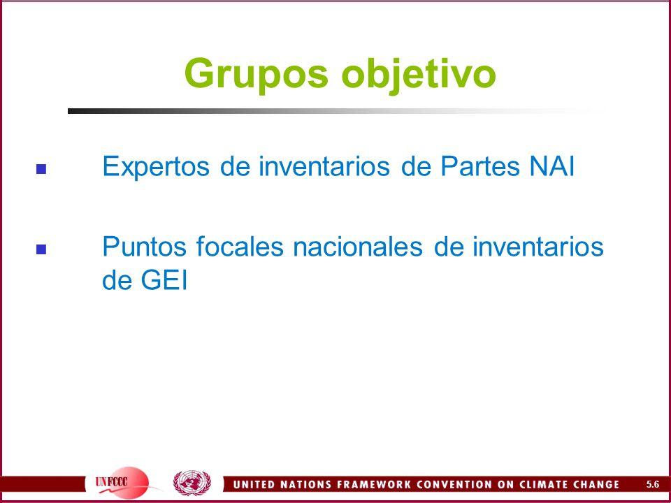 Grupos objetivo Expertos de inventarios de Partes NAI