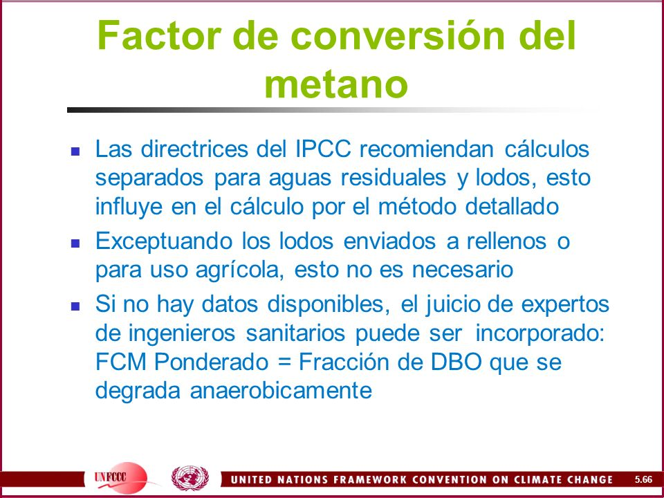 Factor de conversión del metano