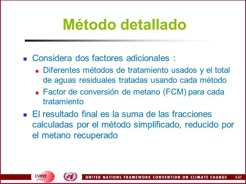 Método detallado Considera dos factores adicionales :