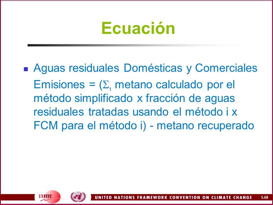 Ecuación Aguas residuales Domésticas y Comerciales