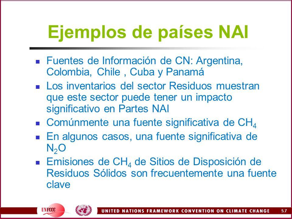 Ejemplos de países NAI Fuentes de Información de CN: Argentina, Colombia, Chile , Cuba y Panamá.