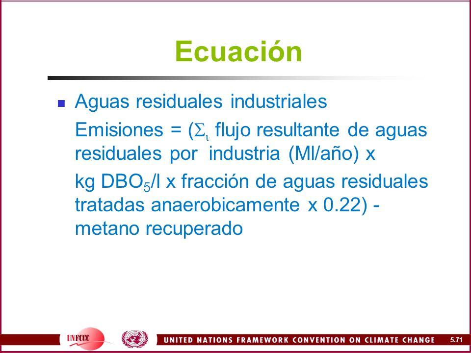 Ecuación Aguas residuales industriales