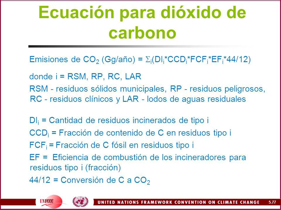 Ecuación para dióxido de carbono