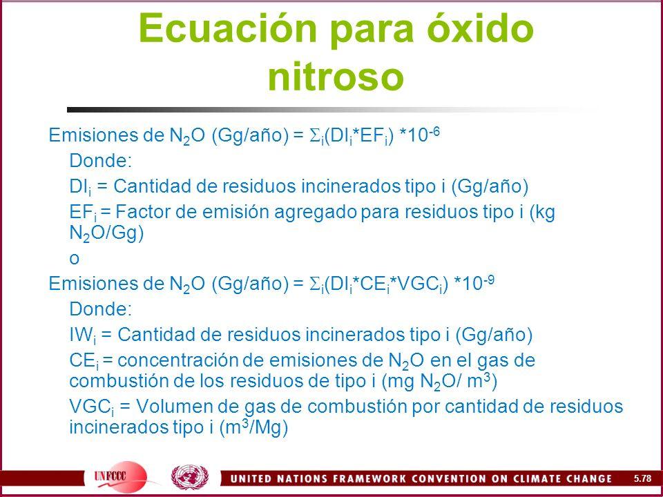 Ecuación para óxido nitroso
