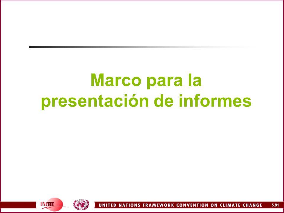 Marco para la presentación de informes