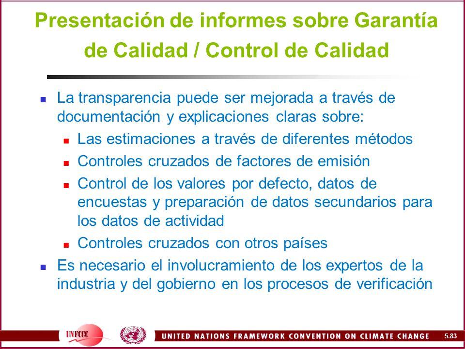 Presentación de informes sobre Garantía de Calidad / Control de Calidad