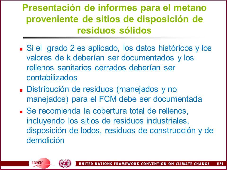 Presentación de informes para el metano proveniente de sitios de disposición de residuos sólidos