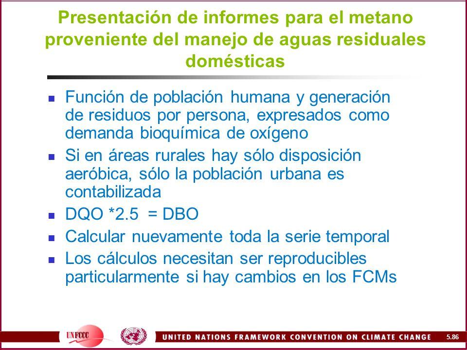 Presentación de informes para el metano proveniente del manejo de aguas residuales domésticas