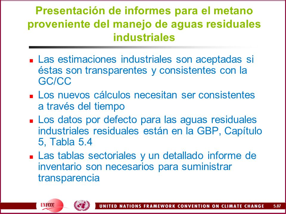 Presentación de informes para el metano proveniente del manejo de aguas residuales industriales