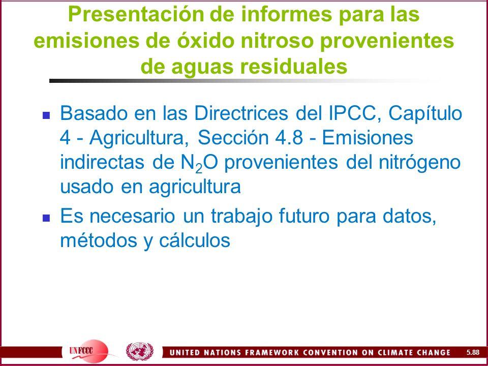 Presentación de informes para las emisiones de óxido nitroso provenientes de aguas residuales