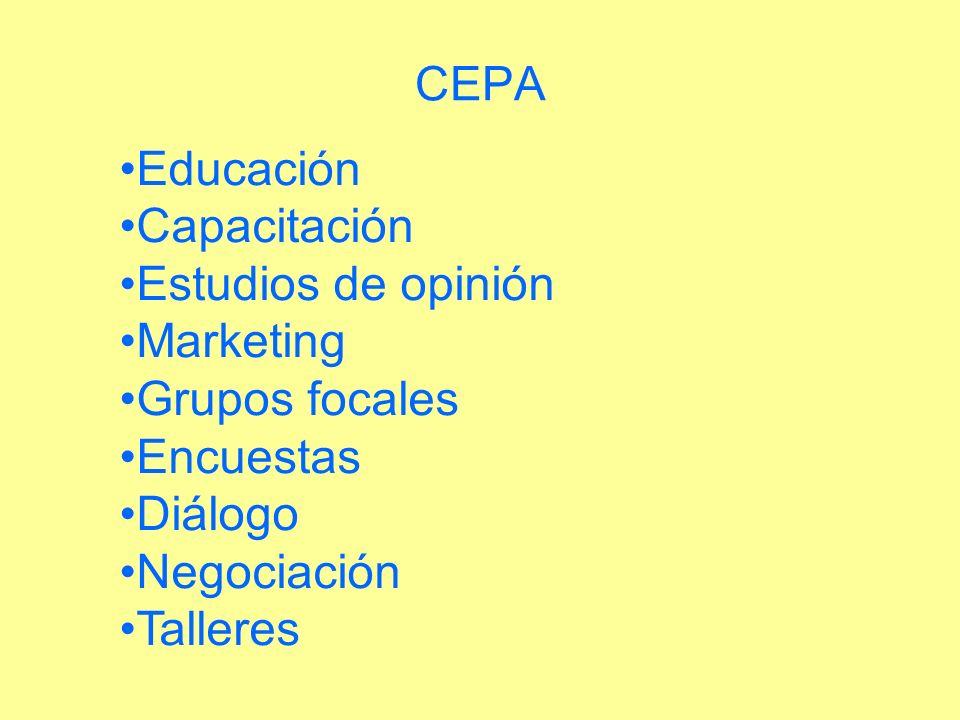 Educación Capacitación Estudios de opinión Marketing Grupos focales