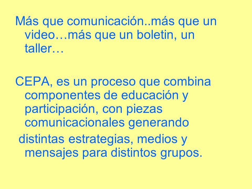 Más que comunicación..más que un video…más que un boletin, un taller…