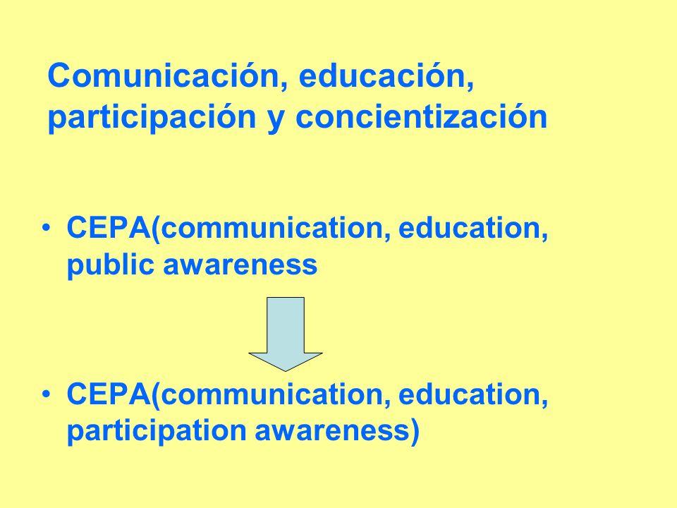 Comunicación, educación, participación y concientización