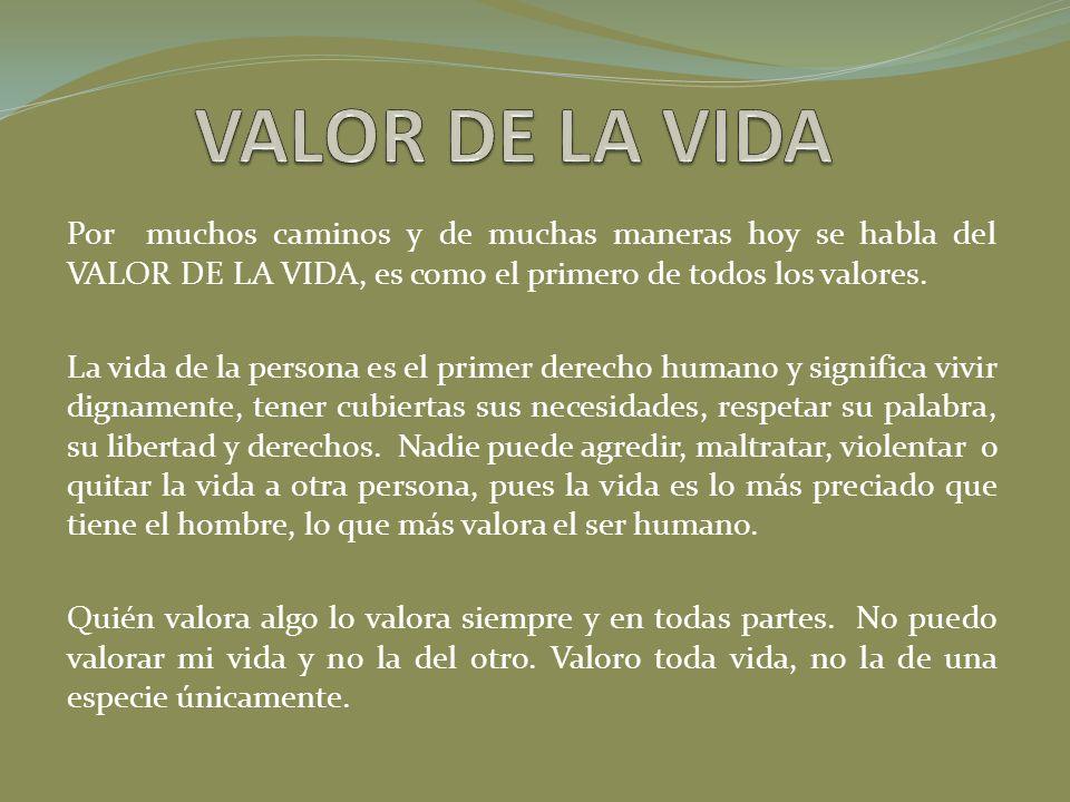 VALOR DE LA VIDA Por muchos caminos y de muchas maneras hoy se habla del VALOR DE LA VIDA, es como el primero de todos los valores.