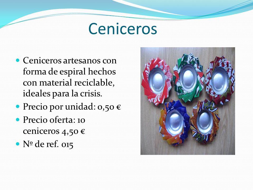 Ceniceros Ceniceros artesanos con forma de espiral hechos con material reciclable, ideales para la crisis.