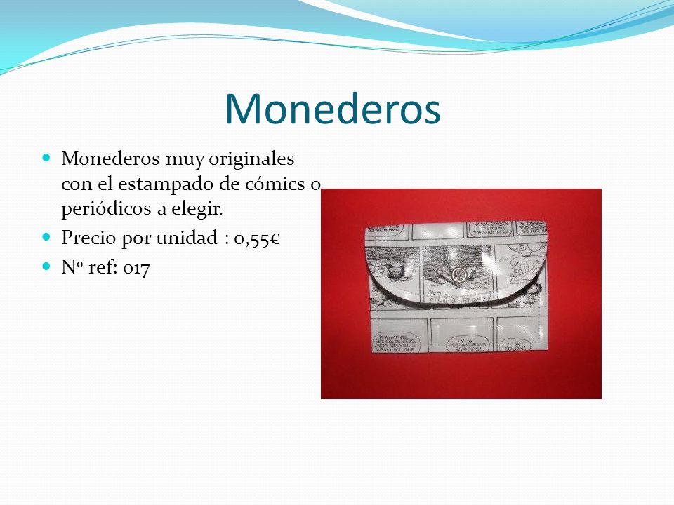 Monederos Monederos muy originales con el estampado de cómics o periódicos a elegir. Precio por unidad : 0,55€