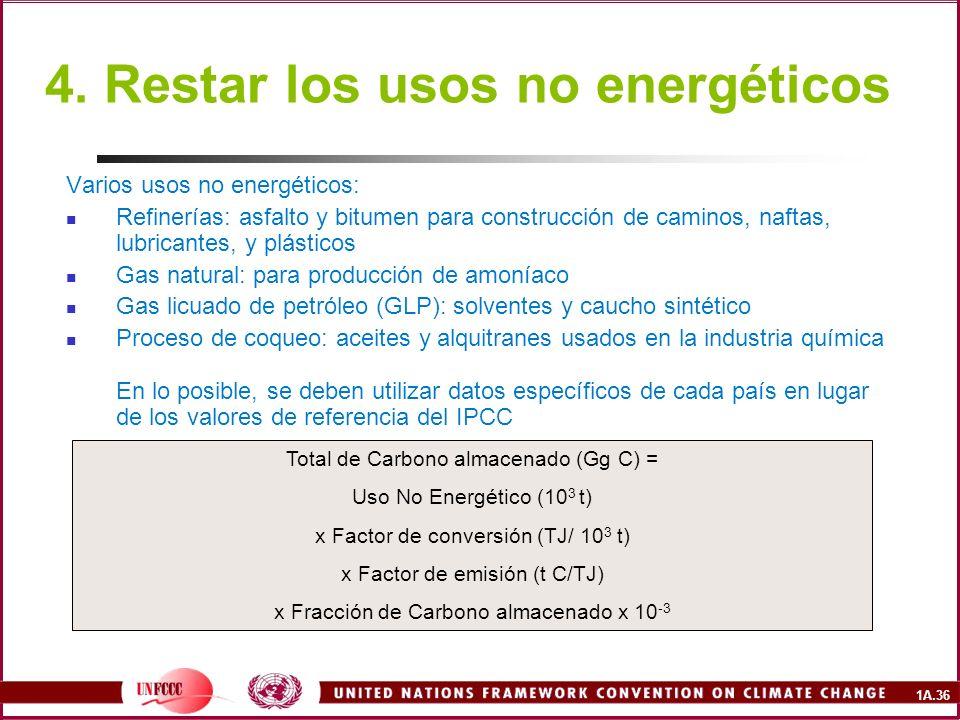 4. Restar los usos no energéticos