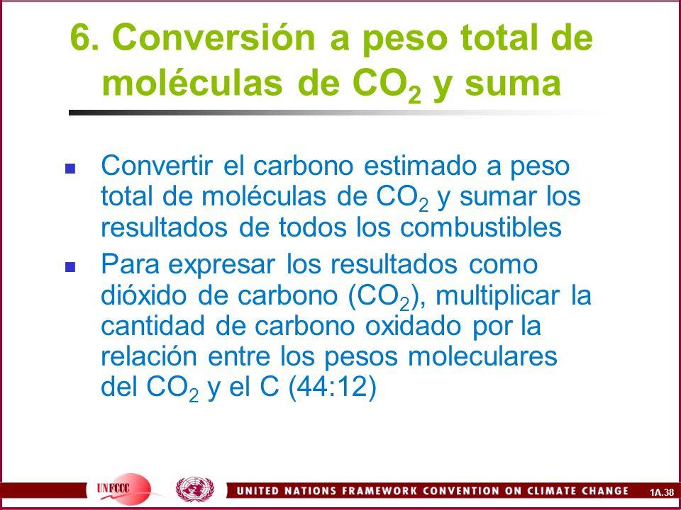 6. Conversión a peso total de moléculas de CO2 y suma