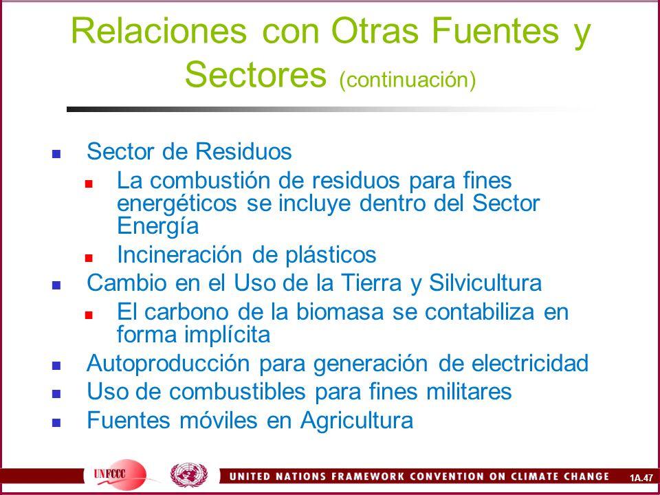 Relaciones con Otras Fuentes y Sectores (continuación)