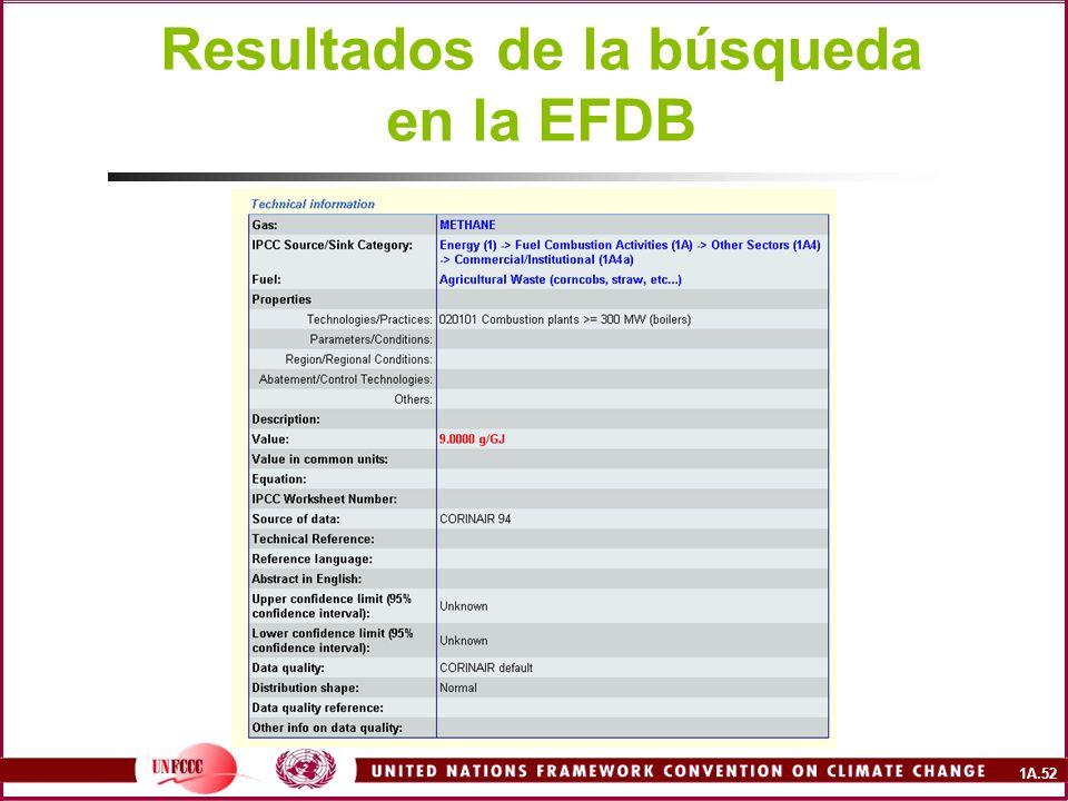 Resultados de la búsqueda en la EFDB