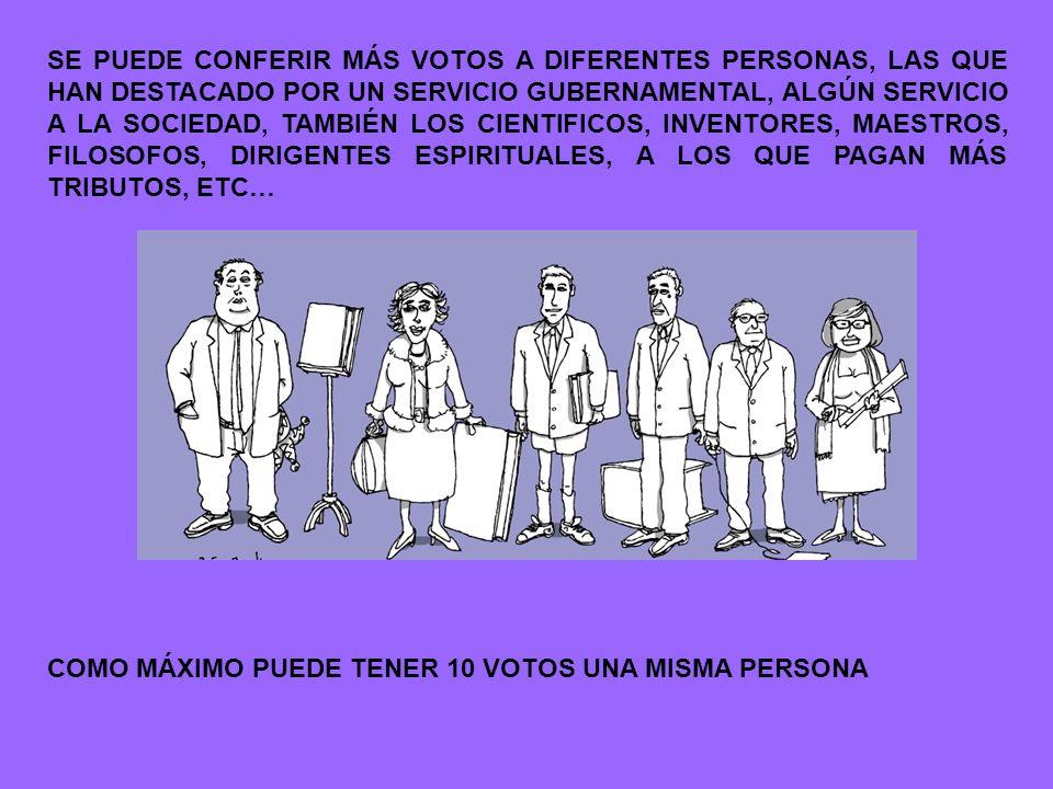 SE PUEDE CONFERIR MÁS VOTOS A DIFERENTES PERSONAS, LAS QUE HAN DESTACADO POR UN SERVICIO GUBERNAMENTAL, ALGÚN SERVICIO A LA SOCIEDAD, TAMBIÉN LOS CIENTIFICOS, INVENTORES, MAESTROS, FILOSOFOS, DIRIGENTES ESPIRITUALES, A LOS QUE PAGAN MÁS TRIBUTOS, ETC…
