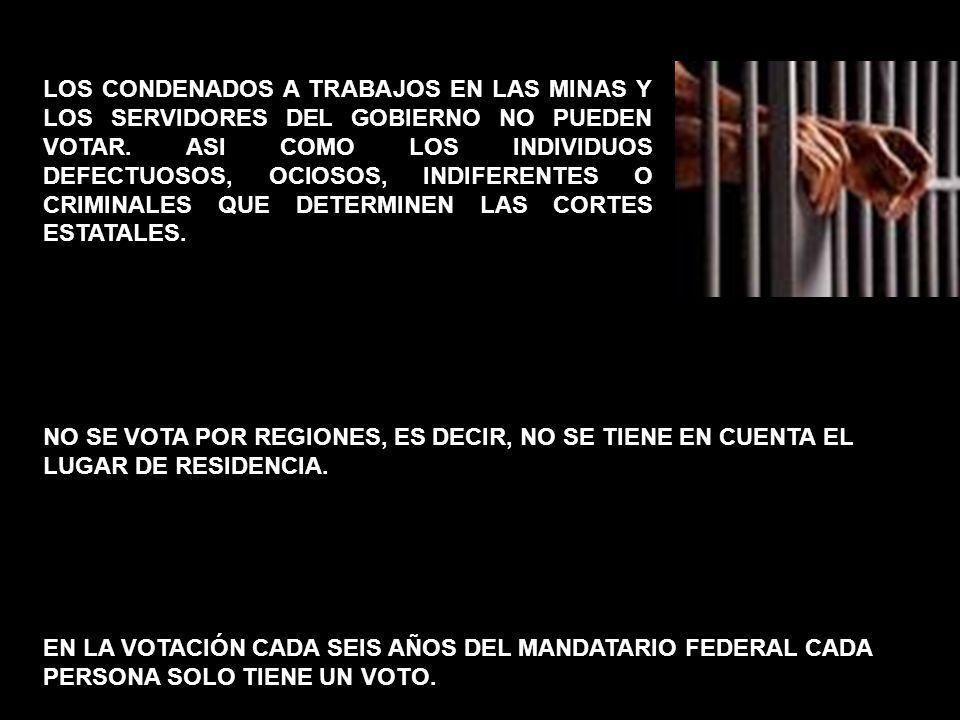 LOS CONDENADOS A TRABAJOS EN LAS MINAS Y LOS SERVIDORES DEL GOBIERNO NO PUEDEN VOTAR. ASI COMO LOS INDIVIDUOS DEFECTUOSOS, OCIOSOS, INDIFERENTES O CRIMINALES QUE DETERMINEN LAS CORTES ESTATALES.