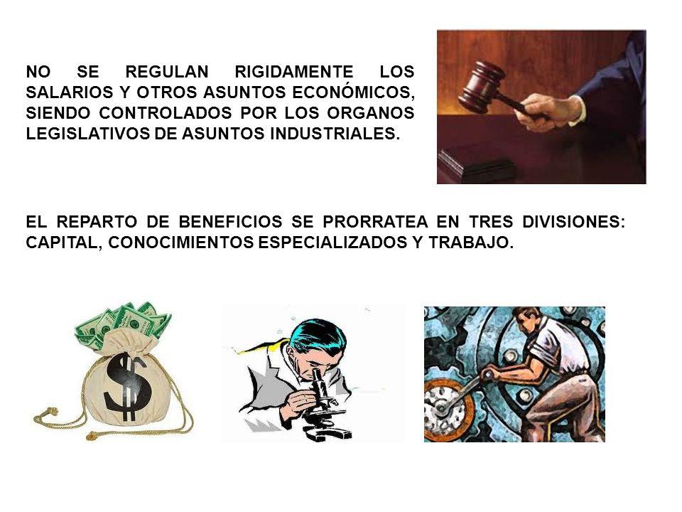 NO SE REGULAN RIGIDAMENTE LOS SALARIOS Y OTROS ASUNTOS ECONÓMICOS, SIENDO CONTROLADOS POR LOS ORGANOS LEGISLATIVOS DE ASUNTOS INDUSTRIALES.