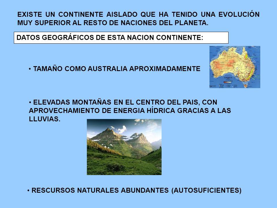 EXISTE UN CONTINENTE AISLADO QUE HA TENIDO UNA EVOLUCIÓN MUY SUPERIOR AL RESTO DE NACIONES DEL PLANETA.