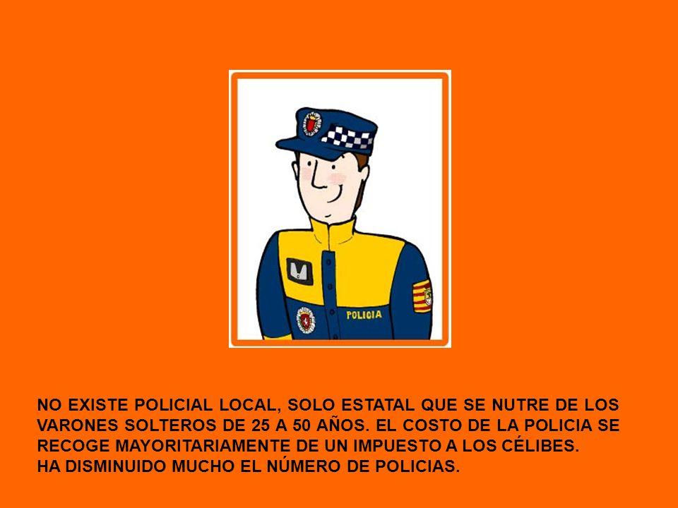 NO EXISTE POLICIAL LOCAL, SOLO ESTATAL QUE SE NUTRE DE LOS VARONES SOLTEROS DE 25 A 50 AÑOS. EL COSTO DE LA POLICIA SE RECOGE MAYORITARIAMENTE DE UN IMPUESTO A LOS CÉLIBES.