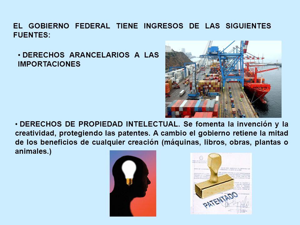 EL GOBIERNO FEDERAL TIENE INGRESOS DE LAS SIGUIENTES FUENTES: