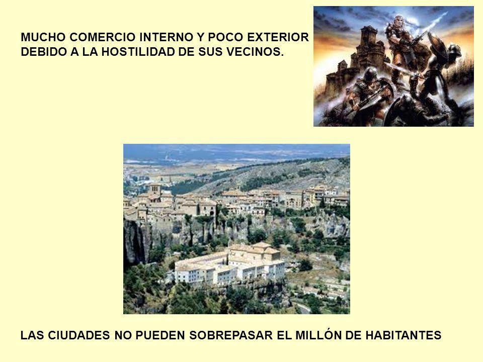 MUCHO COMERCIO INTERNO Y POCO EXTERIOR DEBIDO A LA HOSTILIDAD DE SUS VECINOS.