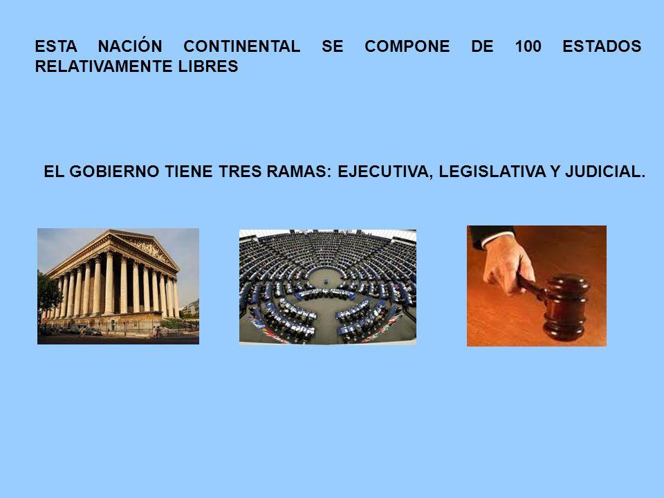 ESTA NACIÓN CONTINENTAL SE COMPONE DE 100 ESTADOS RELATIVAMENTE LIBRES