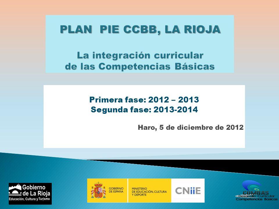 PLAN PIE CCBB, LA RIOJA La integración curricular de las Competencias Básicas