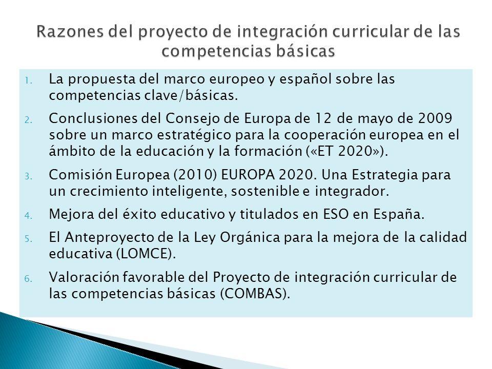 Razones del proyecto de integración curricular de las competencias básicas