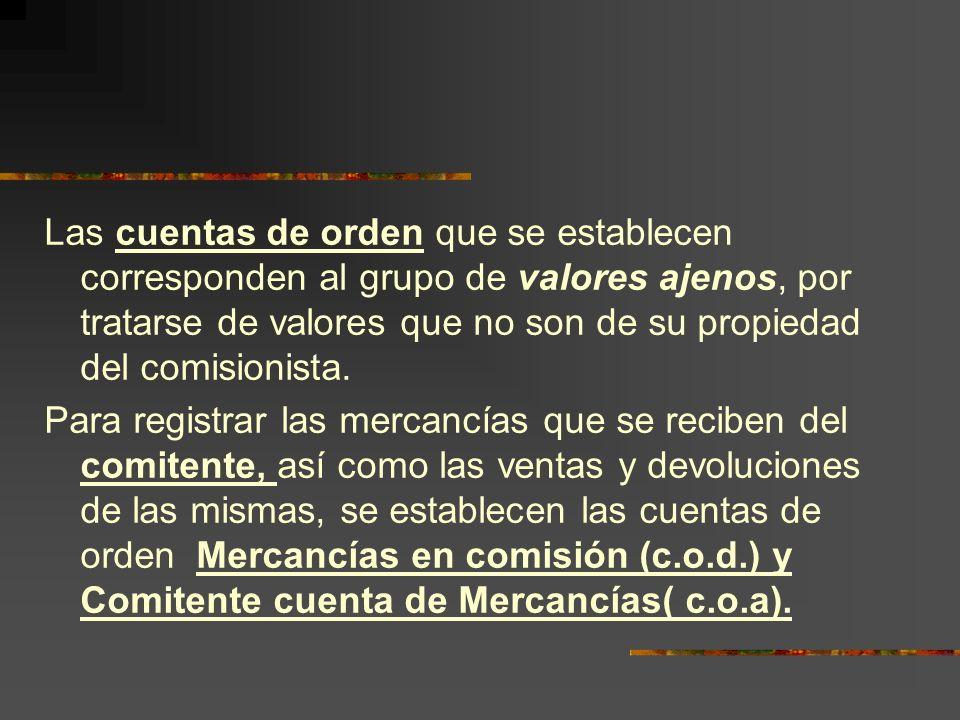 Las cuentas de orden que se establecen corresponden al grupo de valores ajenos, por tratarse de valores que no son de su propiedad del comisionista.