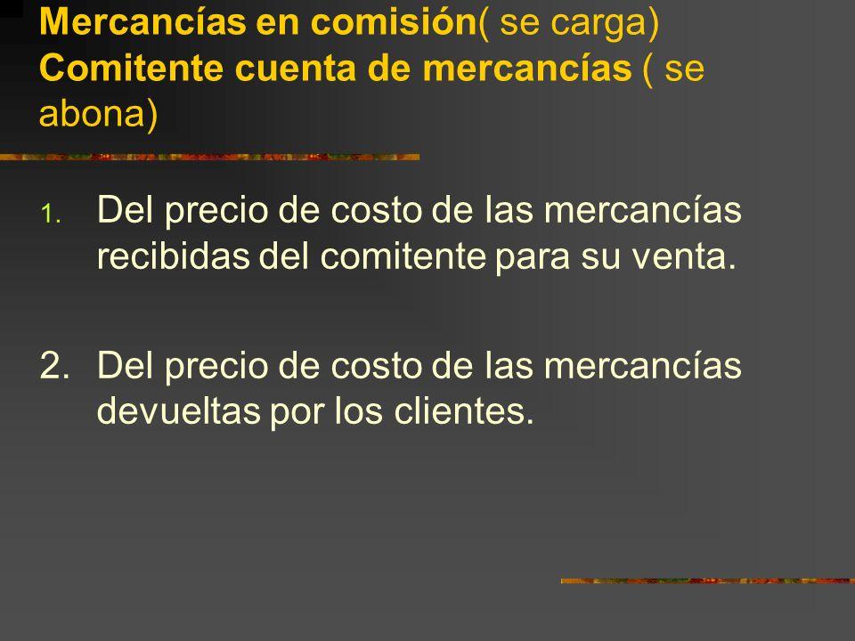 Mercancías en comisión( se carga) Comitente cuenta de mercancías ( se abona)