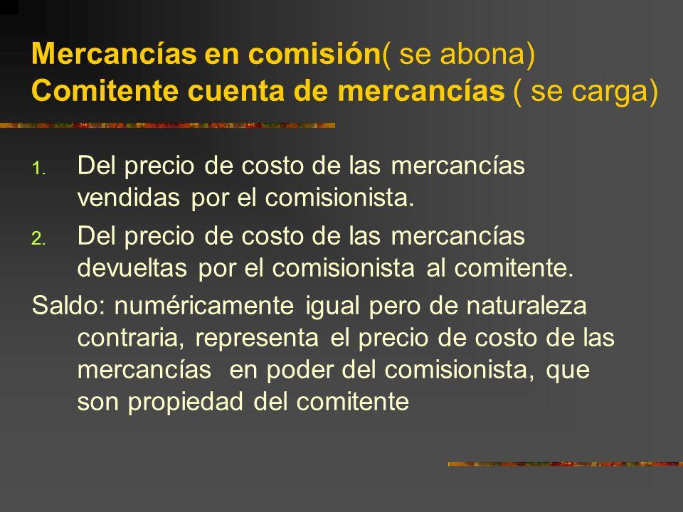 Mercancías en comisión( se abona) Comitente cuenta de mercancías ( se carga)