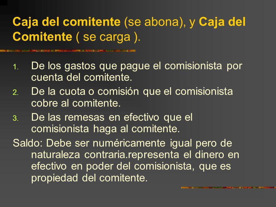 Caja del comitente (se abona), y Caja del Comitente ( se carga ).