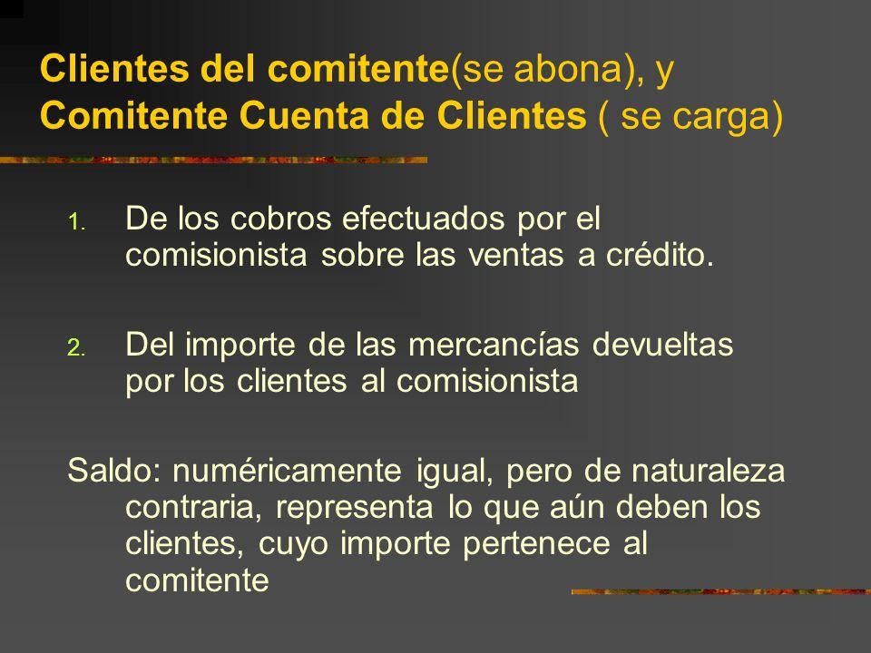 Clientes del comitente(se abona), y Comitente Cuenta de Clientes ( se carga)