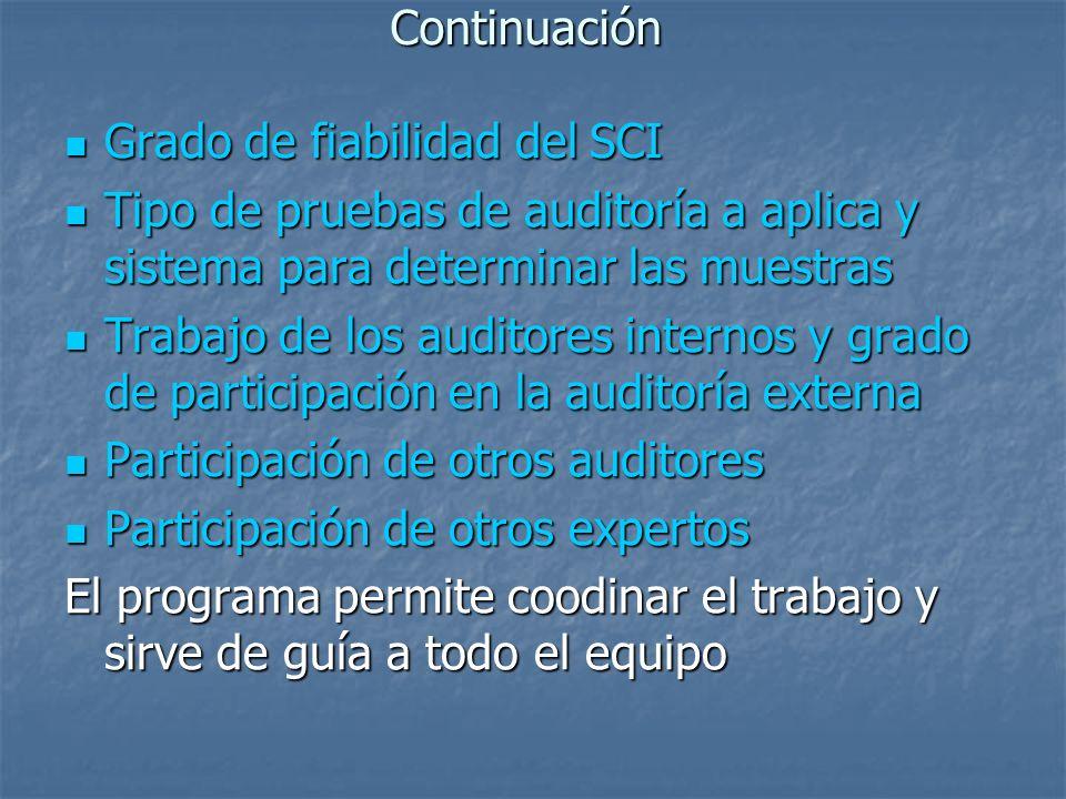 Continuación Grado de fiabilidad del SCI. Tipo de pruebas de auditoría a aplica y sistema para determinar las muestras.