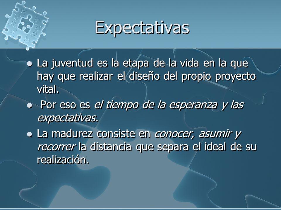 ExpectativasLa juventud es la etapa de la vida en la que hay que realizar el diseño del propio proyecto vital.