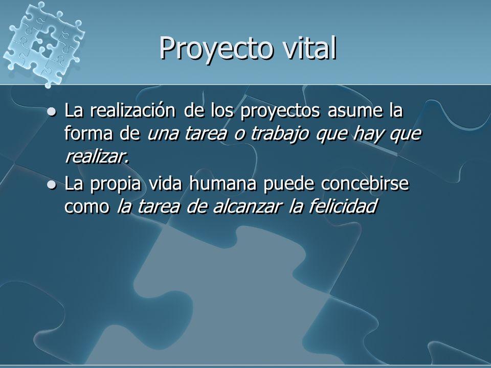Proyecto vital La realización de los proyectos asume la forma de una tarea o trabajo que hay que realizar.