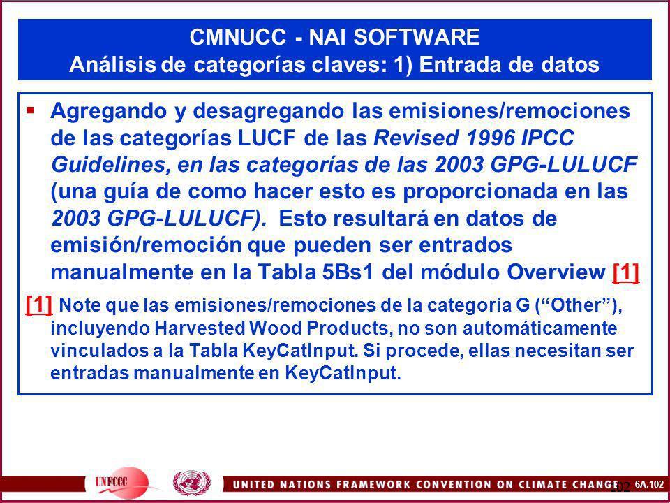 CMNUCC - NAI SOFTWARE Análisis de categorías claves: 1) Entrada de datos