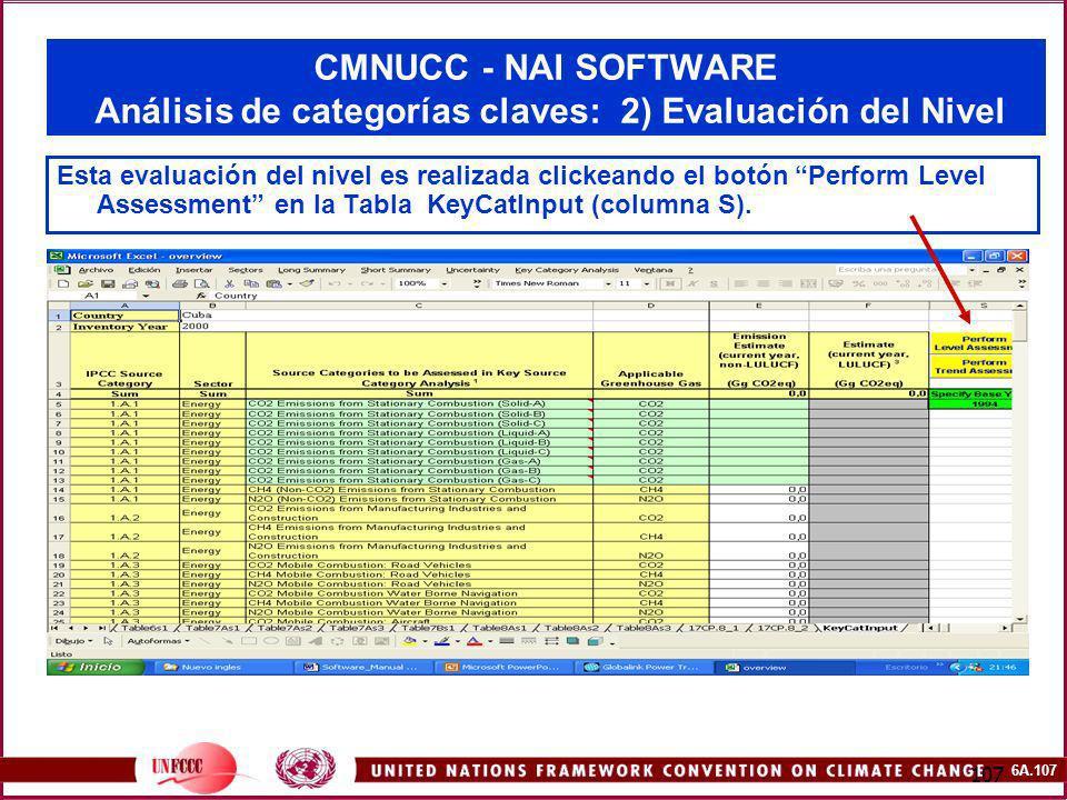 CMNUCC - NAI SOFTWARE Análisis de categorías claves: 2) Evaluación del Nivel
