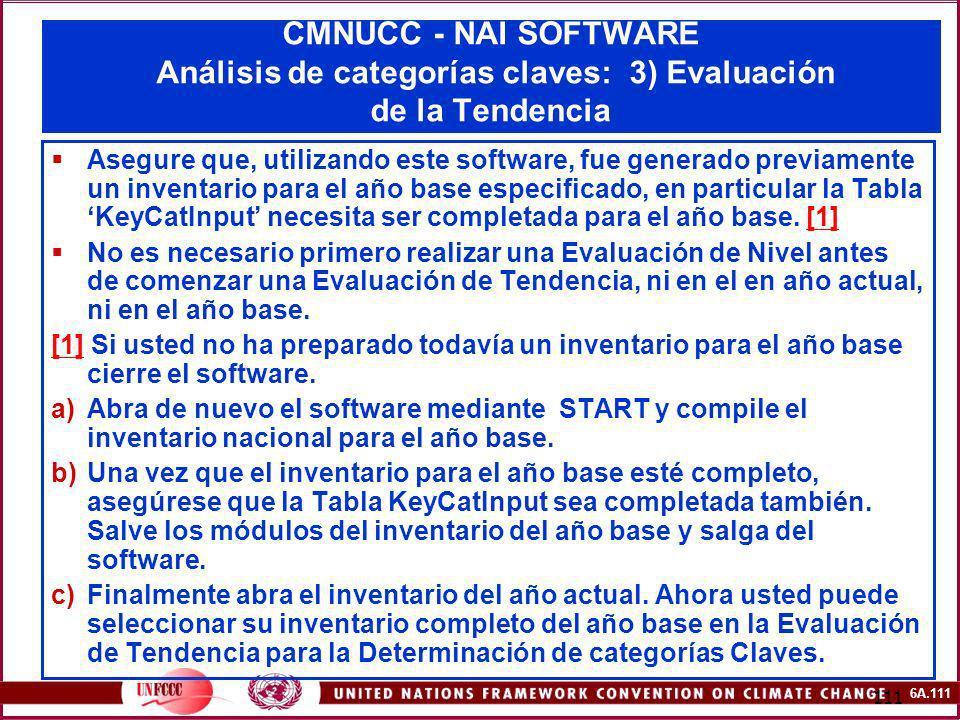 CMNUCC - NAI SOFTWARE Análisis de categorías claves: 3) Evaluación de la Tendencia