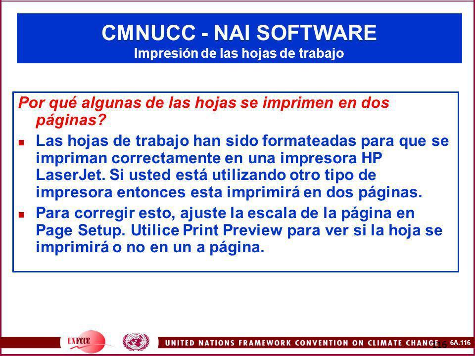 CMNUCC - NAI SOFTWARE Impresión de las hojas de trabajo