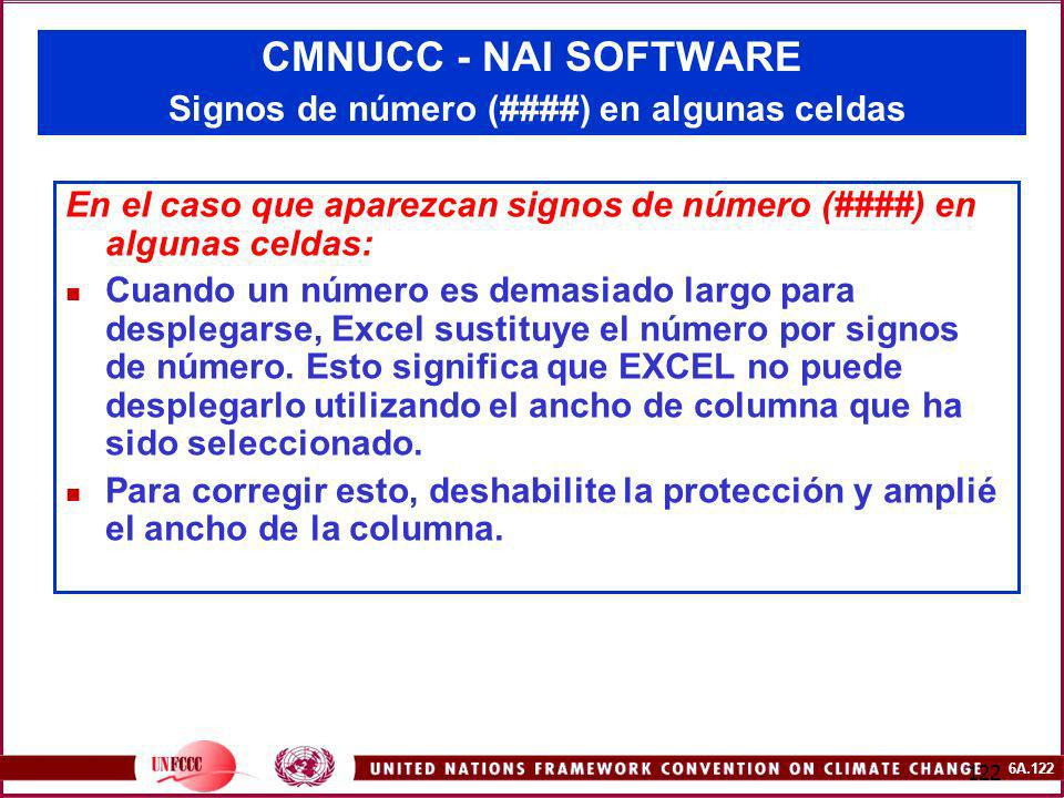 CMNUCC - NAI SOFTWARE Signos de número (####) en algunas celdas