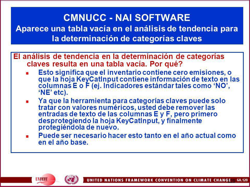 CMNUCC - NAI SOFTWARE Aparece una tabla vacía en el análisis de tendencia para la determinación de categorías claves